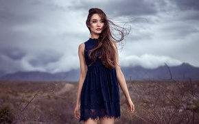 Picture background, the wind, model, hair, dress, beauty, Sabrina