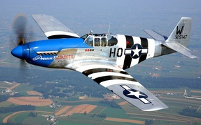 Wallpaper retro, flight, P-51 Mustang, the plane, landscape, fighter, pilot