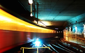Picture lights, metro, the tunnel