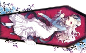 Picture dress, white background, hat, the coffin, red eyes, blue roses, visual novel, vampire, lying on …