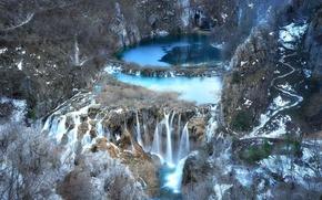 Picture lake, rocks, waterfall, The Republic Of Croatia, national park, Plitvice Lakes