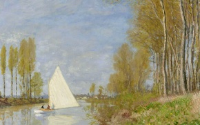 Picture landscape, picture, Claude Monet, Claude Monet, A small Boat in the Bayou of the Seine …