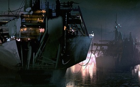 Picture river, ship, art