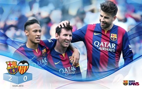 Picture wallpaper, sport, football, Lionel Messi, FC Barcelona, Neymar, Gerard Pique, players