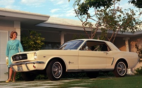 Picture coupe, Mustang, Ford, Mustang, cream, muscle car, Ford, woman, Coupe, the American dream, zhenshina, '1964, …