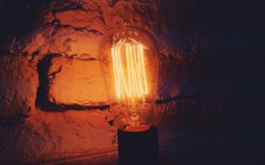 Picture light bulb, style, wall, lamp, brick, lamp, Edison