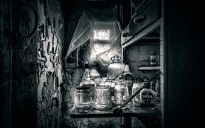 Wallpaper pharmacy, window, banks, flask