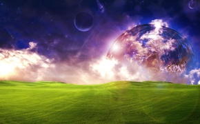 Picture field, the sky, grass, space, clouds, light, fiction, the moon, planet, meadow, beautiful, space, grass, …