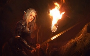 Picture fantasy, fire, elf, Girl, sword, armor, bow, art, torch, armor