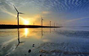 Picture sea, water, sunset, stranded, blades, windmills