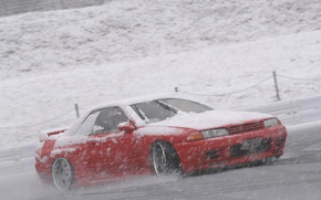 Wallpaper snow, nissan, drift, R32, skyline