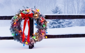 Picture winter, trees, holiday, the fence, Christmas, tape, bow, wreath, light bulb