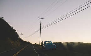Picture road, the sky, Chevrolet, male, twilight, power line, Pick Up