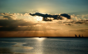 Picture sea, the sky, the sun, clouds, rays, nature, Nature, sky, sea, clouds, sun rays