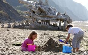 Picture sand, children, Dragon Skull