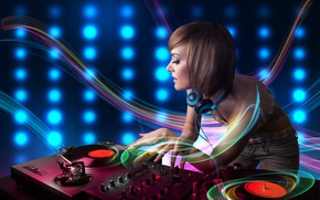 Wallpaper line, headphones, DJ, abstraction, girl, records