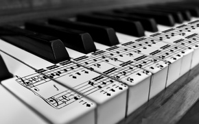 Picture notes, keys, black and white, piano, karl683