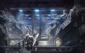 Picture robot, hangar, soldiers, art, pilots, mech