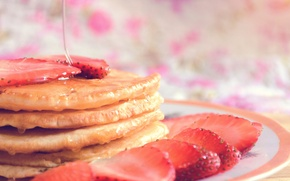 Picture strawberry, plate, syrup, pancakes