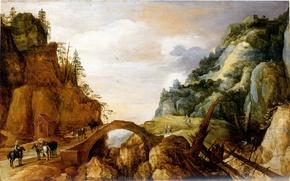 Wallpaper picture, painting, painting, Momper, Mountainous landscape