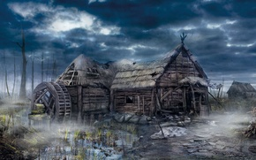 Picture house, village, the Witcher, The Witcher 3: Wild Hunt