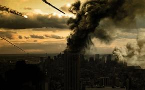Picture rain, smoke, building, destruction, meteor