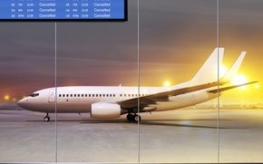 Wallpaper night, lights, the plane, strip, the building, airport, passenger, takeoff, scoreboard