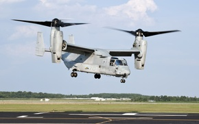 Picture the airfield, the rise, the tiltrotor, U. S. Marine Corps, MV-22 Osprey