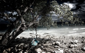 Wallpaper tree, shore, swing, stones