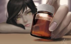 Picture girl, hand, anime, art, pills, nails, jar, lepus