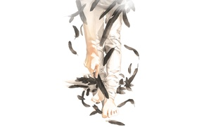 Picture feet, hand, feathers, art