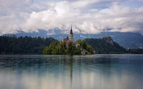 Picture the sky, clouds, lake, island, Church, Slovenia, Slovenia, Bled