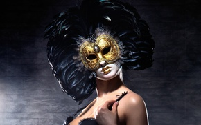 Picture gold, feathers, look, pose, venetian masquerade masks