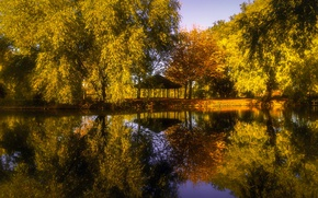 Picture autumn, trees, Park, reflection, river, England, gazebo, England, Barnsley, South Yorkshire, South Yorkshire, Barnsley, river …