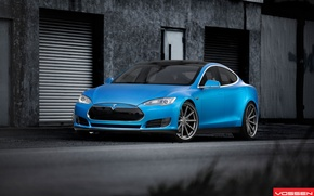 Picture beautiful, drives, front, blue, blue, Tesla, Model S, 22 inch, Vossen wheels, VVS-CV1, electric car