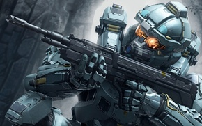 Picture future, Microsoft, battlefield, gun, game, soldier, weapon, war, rocks, man, fight, Spartan, sniper, Xbox 360, …
