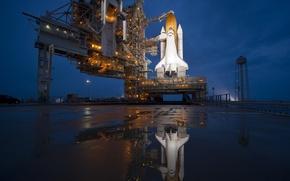 Picture flight, reflection, Shuttle, last, Playground, Atlantis, starting
