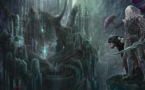 Wallpaper illustration to the book, Robert Salvatore, Panther, menzoberranzan, Guenhwyvar, dark elf, the city, Drizzt Do'urden, ...