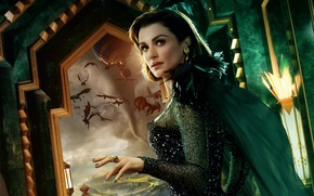 Wallpaper flying, monsters, feathers, poster, window, outfit, Rachel Weisz, tornado, brunette, Oz the Great and Powerful, ...