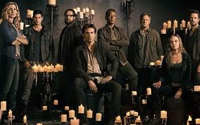 Picture girl, woman, man, survivor, glasses, pose, candles, blondes, Revolution, chandelier, cast, TV series, season 2, …