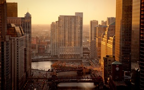 Picture the city, river, home, morning, Chicago, bridges, Chicago, usa