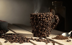 Wallpaper cup, coffee, beans, coffee