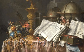 Picture picture, crown, book, globe, Still life. Allegory Of Vanity, Edward Collier