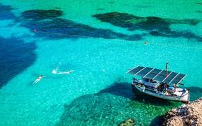 Picture sea, water, stones, stay, shore, boat, Spain, Ibiza, San Miguel