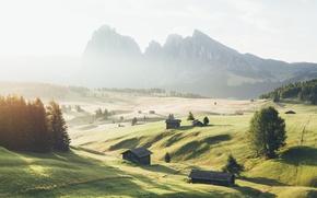Wallpaper September, mountains, haze, morning