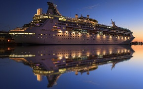 Picture water, lights, reflection, the evening, liner, cruise ship