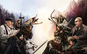 Picture Aragorn, Gandalf, Tyrion Lannister, Frodo Baggins, Jon Snow, Gimli, art, dwarf, Legolas, Eddard Stark, George ...