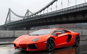 Picture asphalt, bridge, rain, the fence, lamborghini, Lamborghini, aventador lp700-4