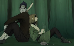 Wallpaper forest, girl, tea, sword, art, guy, bag, bandana, naruto, sitting, hoshigaki kisame, l.pilz