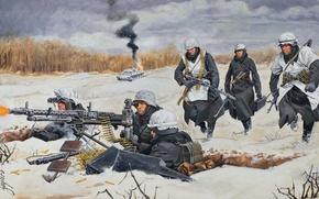 Picture winter, snow, figure, art, soldiers, tank, shots, position, guns, burning, German, The great Patriotic war, …